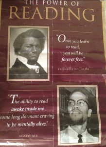 Rood Emmanuel received this poster as a gift from his high school advanced placement literature and composition teacher, Ashley Cartwright. Emmanuel said Malcolm X's quote at the bottom symbolized him and the struggles he's faced in life. (Photo credit//Rood Emmanuel)