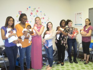 The first group of mothers from CenteringPregnancy reunite with their babies. CenteringPregnancy is a group prenatal care program at the UF Health Women's Center that has been shown to decrease premature births. (Courtesy of UF Health Women's Center)