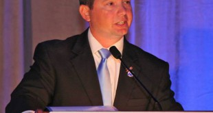 Matt Surrency, mayor of Hawthorne, speaks at a Florida League of Cities annual conference August 13. He is the president of the Florida League of Cities and was elected to the National League of Cities board of directors earlier this year.