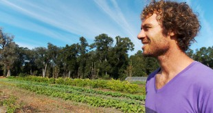 Farmer Cody Galligan works on his Siembra Farm that he runs with his wife. The farm harvests over 50 kinds of various fruits and vegetables that aren't treated with pesticides. (Kelsey Jordan/ WUFT News)