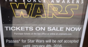 Cinemark posts signs in front of theaters issuing a ban on all lightsabers, blasters and facial coverings part of fan costumes for opening weekend of 'Star Wars: The Force Awakens'. Fans attending a screening can expect to see an increased GPD presence and additional security within the theaters. Photo courtesy of Scott Chitwood.