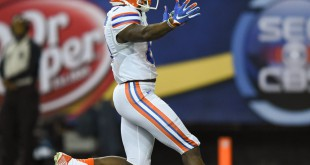 Florida wide receiver Antonio Callaway runs toward Gator fans after returning an 85-yard punt for a touchdown in a game during the 2015 season. Because of a (File/ WUFT News)