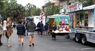 Several vendors set up in High Dive's parking lot for the food truck rally. Among the vendors were British seafood truck London Fish and Chippy, Hawaiian-style hotdog truck Kona Dog and seafood truck Monsta Lobsta. (Madelyn Craven/WUFT News)