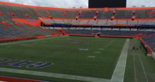 A turf manager tends to Florida Field following the Gators' last home game of the 2015 season. The field will go largely unused for the next few months, but needs year-round maintenance. Kirsten Chuba / WUFT News.