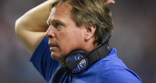 Florida coach Jim McElwain during 2015 SEC championship game against Alabama. When the teams face off again Saturday, the Gators will be without starter Jordan Sherit, who was injured in the Florida State game. (File/ WUFT News)
