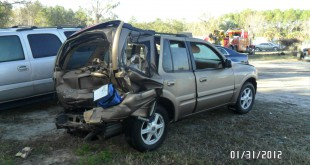 Bernard and Margie deWit's Oldsmobile Bravada after the I-75 crash on January 29, 2012.  Photo courtesy Florida Highway Patrol