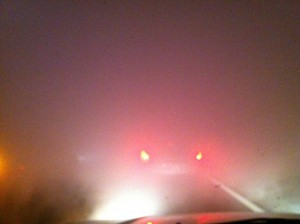 Cars braking during dense smoke on I-75 on the night of the multi-vehicle accident (photo by UF student Ronny Herrera at the scene)