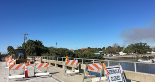 The C Street bridge leading to Dock Street undergoes reconstruction Tuesday. (Graham Hall/WUFT News)