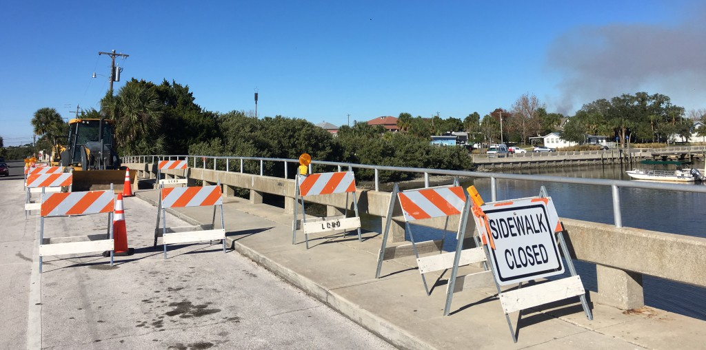 The C Street bridge leading to Dock Street undergoes reconstruction Tuesday. (Graham Hall/WUFT News)