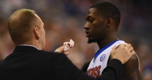 During a play in the second half an LSU defender made contact with Florida's Dorian Finney-Smith (10), resutling in a cut above his lip. Finney-Smith received stiches before returning to the game. (Greenberry Taylor/WUFT News)