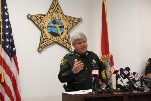 Marion County Sheriff Chris Blair answers questions during a press conference regarding the five officers under investigation for civil rights violations. (Carel Lajara/WUFT News).