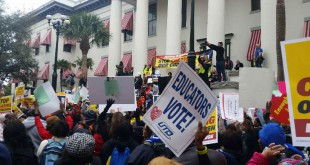 Teachers gather at the state Capitol Jan. 14 to protest Florida's emphasis on high-stakes testing and other education issues. (Photo courtesy of Mary Phillips)