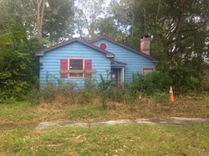 The lack of care given to a blue house in Gainesville's Duckpond neighborhood has some residents upset. Their complaints point to the house's unruly lawn, wildlife and homeless people at the home. (Jennifer Jenkins/WUFT News)