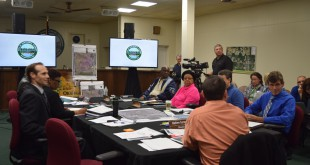 City of Hawthorne residents and government officials discussing concerns about the Plum Creek annexation at a city hall workshop meeting Tuesday night.
