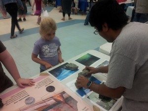 Riley, a Glen Springs kindergartner, matches up different types of rocks and minerals with photos. Harshit Saini, a UF geology student, taught Riley and many other Glen Springs students about where different types of minerals and rocks can be found.