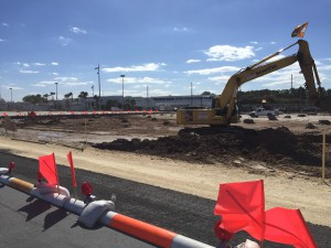 Construction on the addition to the Apron at GRA has begun. (Alexa Lightle/WUFT News)