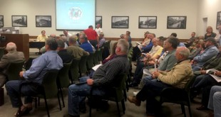 Concerned residents from Bradford, Union and surrounding counties gather in Bradford County Courtroom Thursday evening. Commissioners said they will consider citizens' concerns when HHPS speaks to the commission in a public hearing. (Sara Uman/WUFT News)