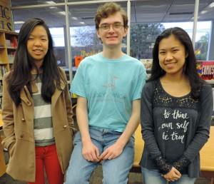 From left to right Lillian Zhu, David Geering and Beverly Ge from Buchholz High School. (Photo courtesy of Jackie Johnson)
