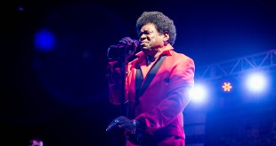 Gainesville native Charles Bradley performs as the headliner act for the frank2016 Community Street Fair. The free and public concert celebrated the Bo Diddley Plaza reopening on Thursday. (Cresonia Hsieh/WUFT News)