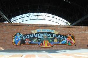 The original Bo Diddley Community Plaza mural that lines the back wall of the stage is still there, receiving just some minor touchups during the renovation to liven it up. Jordan McPherson // WUFT News
