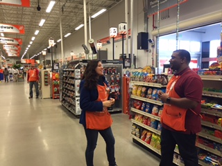 Andrew Rooplal Home Depot Manager And Bryana Tianga Ociate Discuss Promotions Said The Is Looking To Hire Workers
