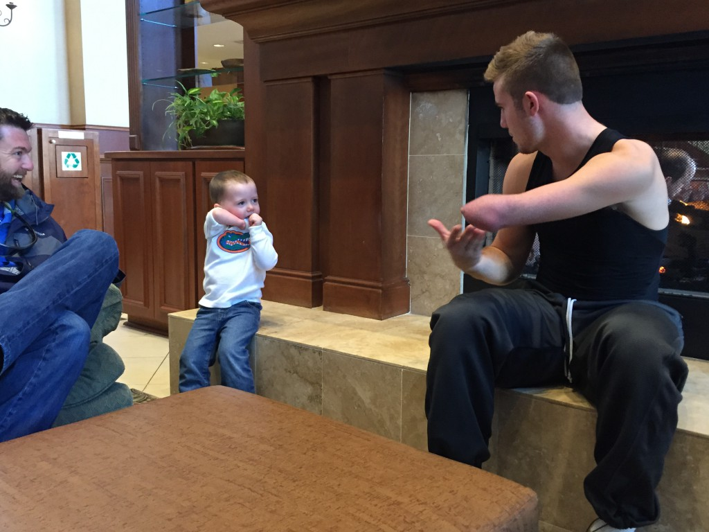 Zach Hodskins, sophomore guard for the UF men's basketball team, met with a 2-year-old boy named Charlie on Tuesday in Athens, Georgia. They both were born with only one hand and played together that afternoon.