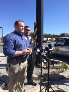 Gainesville police spokesman Ben Tobias speaks at a press conference Thursday about Hannah Brim, 23, who was reported missing Jan. 23 and is believed to be dead. (Maggie Lorenz/WUFT News)