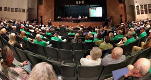 Hundreds attended a second night of public hearings at Eastside High School's auditorium Thursday night. (Ethan Magoc/WUFT News)