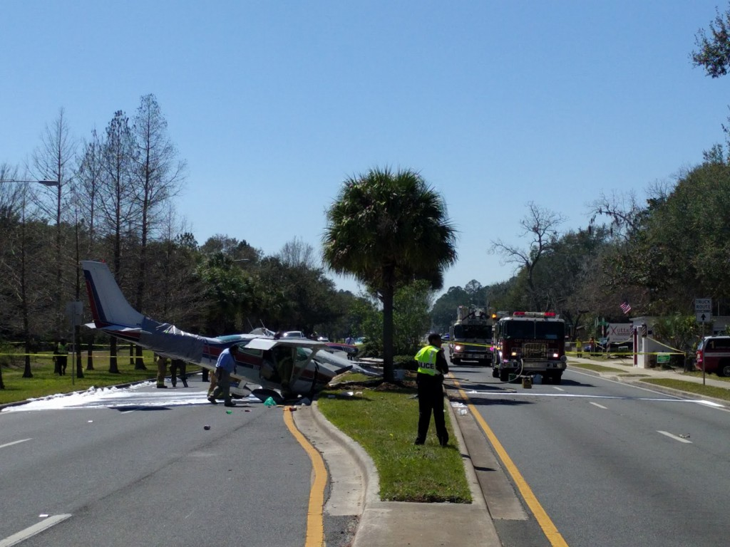 A plane crashed Sunday afternoon in the 1900 block of NE Waldo Road, about two miles south of the Gainesville Regional Airport. (Ethan Magoc/WUFT News)