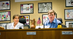 School Board of Alachua County member Gunnar Paulson urges residents to call Senator Rob Bradley and vote no to Senate Bill 524 at SBAC's Tuesday night meeting. The bill is expected to be heard today.  (Crensonia Hsieh/WUFT News)