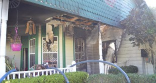 Fire damaged the house at 4023 Northeast 23rd Place in Ocala (pictured)on Monday, and one dog inside was killed. (Photo courtesy Ocala Fire Rescue)
