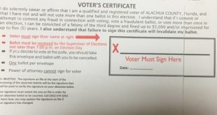 Florida voting ballot signature space