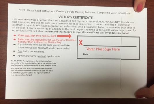 Florida voting ballot signature space