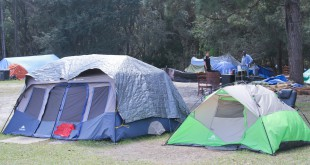 "The pictured tents, resident Mike Mcneal said, belonged to Anthony Davis, who attacked another resident with an axe Saturday. A Gainesville Police Officer patrols nearby. ""I'm not saying that Dignity Village is 100 percent criminals. There are some very good people that live out there, some very good people that are truly down on their luck."" But, there is a criminal element that lives out there. If it wasn't, we would not have to put two full-time police officers out there,"" GPD spokesman Officer Ben Tobias said. (Photo by Giuseppe Sabella)."