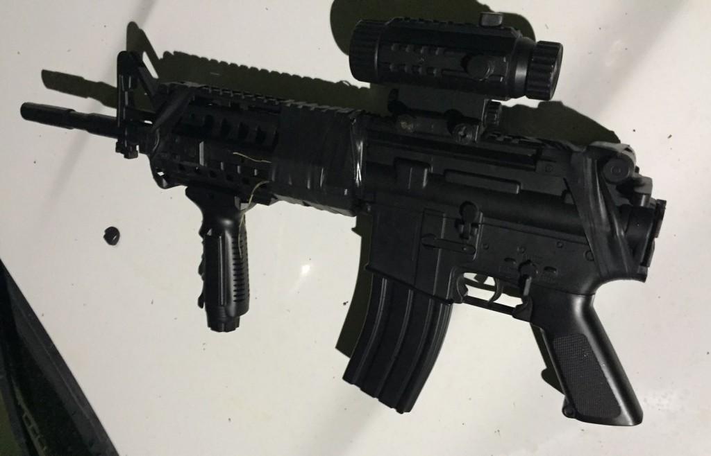 """This is a picture of the weapon that the suspect was carrying when confronted by ASO Deputies and GPD Officers,"" the sheriff's office announced on Facebook. (Courtesy of Alachua County Sheriff's Office)"