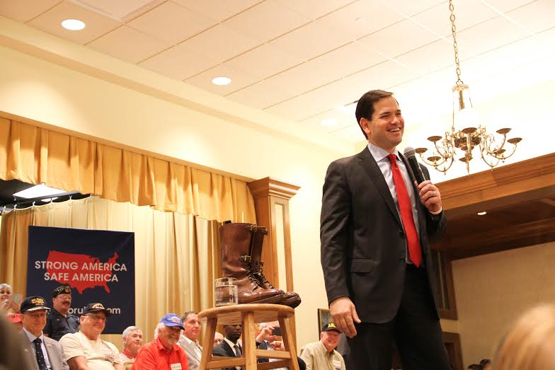 """Rubio greets the crowd after taking the stage at the Rohan Recreation Center. """"We are still the descendants of go-getters, every single one of us,"""" Rubio said of Americans Sunday afternoon. (Jennifer Jenkins/WUFT News)"""