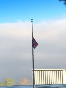 The flagpole at Buchholz High School in Gainesville was vandalized this morning when a Confederate Battle Flag replaced the American flag normally flown there. (photo courtesy of Haris Khan)
