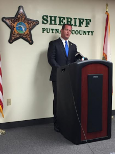 PCSO Captain Gator Deloach, at a press conference Tuesday afternoon, announcing the findings of the investigation into the accidental shooting of Jamie Gilt by her 4-year-old son. (Alexandra Go/WUFT News)