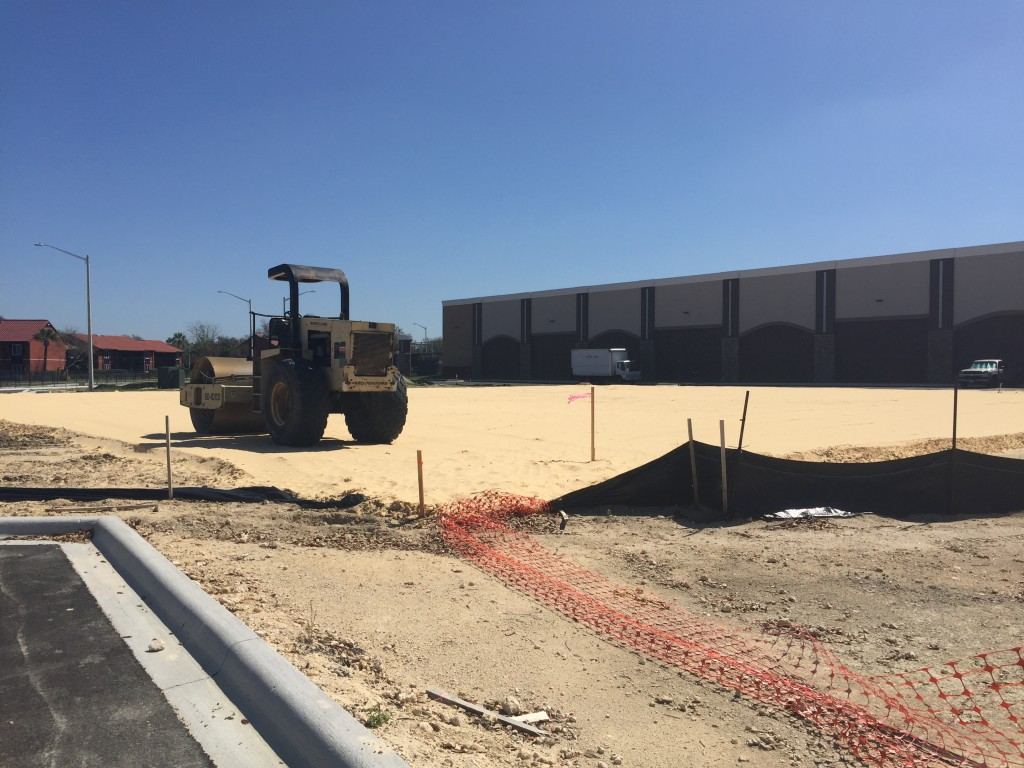 The construction site at Butler North, an expansion to Butler Plaza off Archer road. The site will feature an approximately 17,000 square foot Aldi Food Market, a discount-grocer headquartered in Germany. (WUFT News/Kiara Beard)