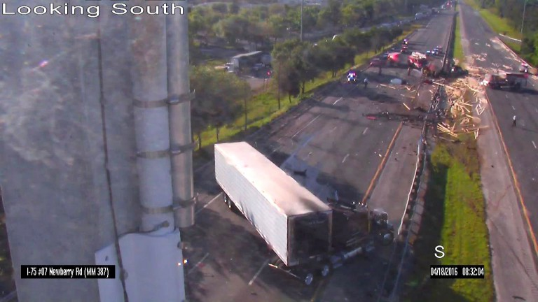security footage of accident on I-75 at Newberry Road exit