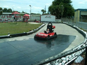 Meeting the 4-foot height requirement, Daniel can drive go-carts, and he hopes to someday also get his driver's license. (Photo courtesy of Dawn Stephens)