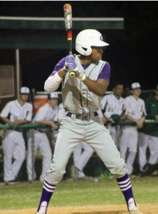 Trey Covert steps up to the plate in a recent baseball game for Gainesville High School. The senior left fielder has an on-base percentage of .420 and has been recruited to play for Alcorn State University next year. Photo provided to WUFT by Covert