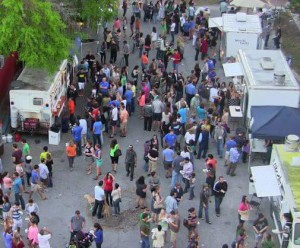 Hundreds flock for a food truck rally hosted at High Dive. The venue was the first to host a food truck rally in Gainesville in January 2013. Each event attracts about 2,000 to 3,000 people to the food truck culture
