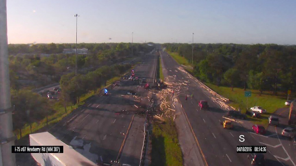 All lanes are blocked on I-75 near Newberry Rd. in Gainesville due to a semi-tractor crash.