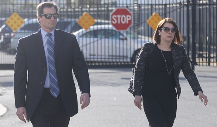 Federal prosecutors Mark Blumberg and Maura White enter the courthouse. (Ethan Magoc/WUFT News)