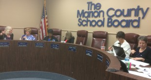 The Marion County School Board at Thursday's meeting. Four of the five members showed their support of restricting school bathrooms to birth sex. (James Torrez/WUFT News)