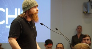 Blake Briand, co-owner and manager of The Jam stood up first to speak at the Gainesville City Plan Board meeting on April 28, 2016. (WUFT News)