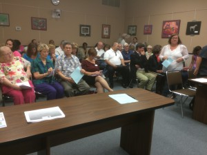 Marion County residents gather at Thursday's school board meeting. About a dozen citizens spoke in favor of restricting bathroom access to birth sex, while one was against it. (James Torrez/WUFT News)