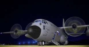 "Airmen prepare a WC-130J Hercules for a mission to collect data, on St. Croix, Virgin Islands. Known as the ""Hurricane Hunters,"" the 53rd Weather Reconnaissance Squadron mission is to provide surveillance of tropical storms and hurricanes in the Atlantic Ocean, the Caribbean Sea, the Gulf of Mexico and the central Pacific Ocean for the National Hurricane Center in Miami. (U.S. Air Force photo/Staff Sgt. Michael B. Keller)"