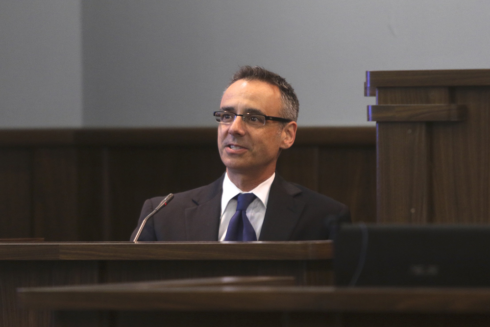 Albert Morales, chief financial officer for GREC, testifies on Wednesday. Morales graduated from Cornell University and holds MBA and law degrees from Columbia University. (Ethan Magoc/WUFT News)